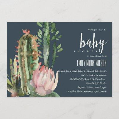 NAVY PINK FLORAL DESERT CACTI FOLIAGE BABY SHOWER INVITATION