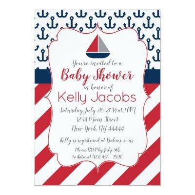 Navy Red Nautical Sailboat Baby Shower Invitations