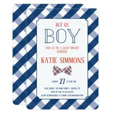 Navy Red Plaid Bow Tie Baby Boy Shower Invitations