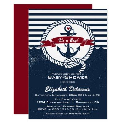 Navy & Red Rustic Nautical Baby Shower Invitations