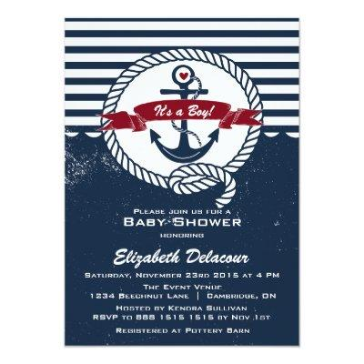 Navy & Red Rustic Nautical Invitations