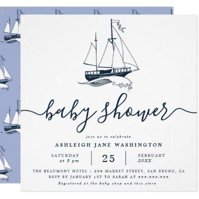 Navy Ship Nautical Baby Shower Square Invitation