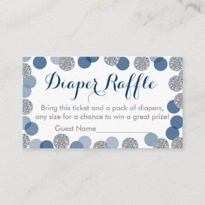 Navy & Silver Glitter Diaper Raffle Tickets Enclosure Card