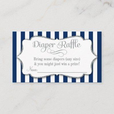Navy Silver Gray Diaper Raffle Baby Shower Cards