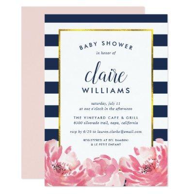Navy Stripe & Pink Peony Baby Shower Invitation