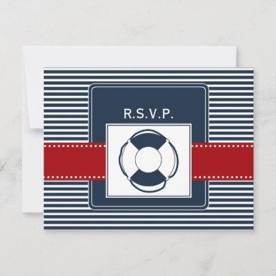 navy stripes, lifebuoy, nautical wedding rsvp