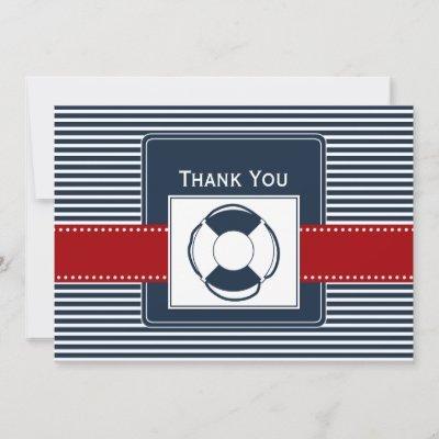 navy stripes, lifebuoy, nautical wedding Thank you Invitation
