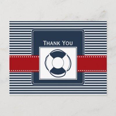 navy stripes, lifebuoy, nautical wedding Thank you Postcard
