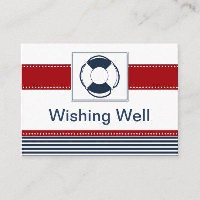 navy stripes,lifebuoy , nautical wishing well card