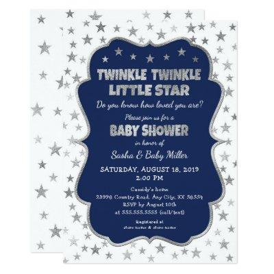 Navy Twinkle Little Star Baby Shower invitations