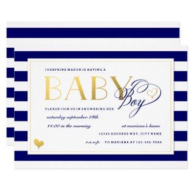 Navy & White Stripe Faux Gold Boy Baby Shower Invitations