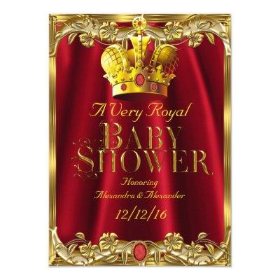 Neutral Baby Shower Royal Red Gem Gold Crown Invitation