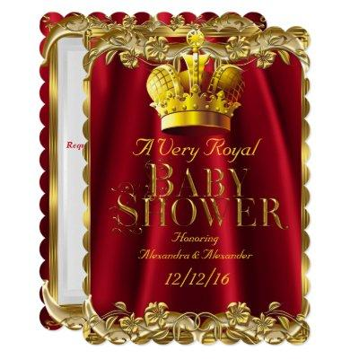 Neutral Baby Shower Royal Regal Red Gold Crown Invitation