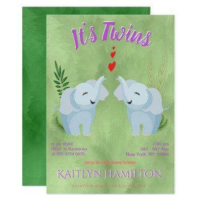 Neutral Baby Shower Twins Elephant Gender Invitation