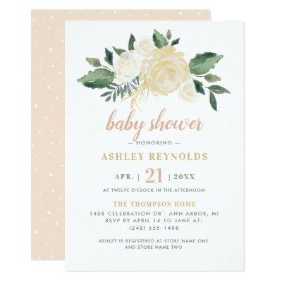 Neutral Blooms and Greenery Elegant Baby Shower Invitations