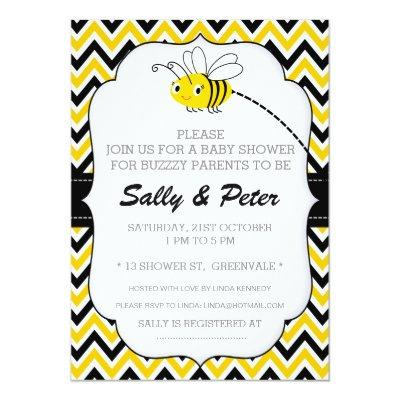 Neutral Busy Bee Baby Shower Invitation