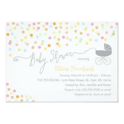 Neutral Confetti   Baby Shower Invitations