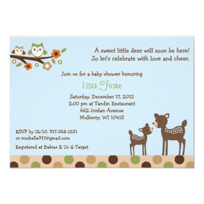 Forest friends baby shower invitations baby shower invitations neutral deer owl forest filmwisefo