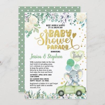 Neutral Drive By Baby Shower Parade Green Elephant Invitation