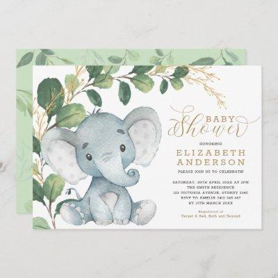 Neutral Elephant Soft Greenery Gold Baby Shower Invitation