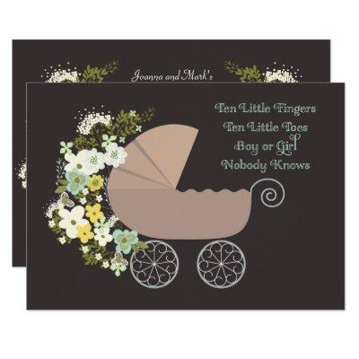 Neutral Gender Stroller Baby Shower Invitation