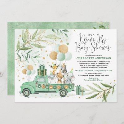 Neutral Greenery Gold Safari Drive By Baby Shower Invitation
