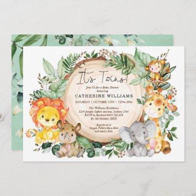 Neutral Greenery Jungle Animals Twins Baby Shower Invitation
