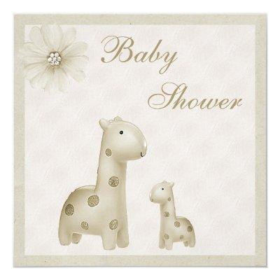 Neutral Mom & Baby Giraffes Vintage Invitations