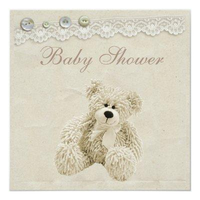 Neutral Teddy Bear Vintage Lace Baby Shower Invitation