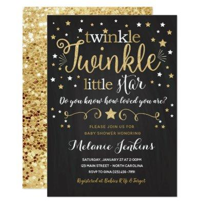 Neutral Twinkle Little Star Baby Shower Invitations