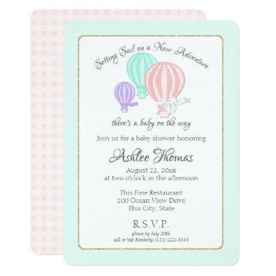 New Adventure Hot Air Balloons Baby Shower Invitation