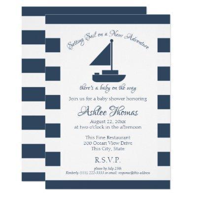 New Adventure Nautical Sailboat Shower Invitations