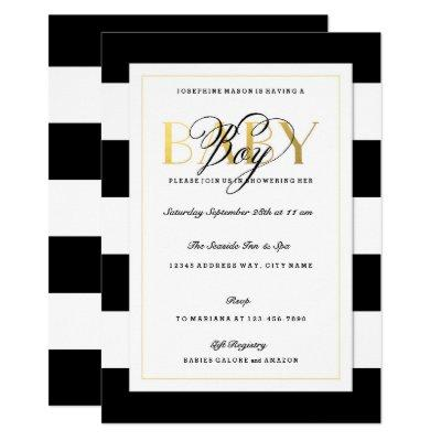 NEW Black & White Stripe Baby Boy Shower Gold Invitation