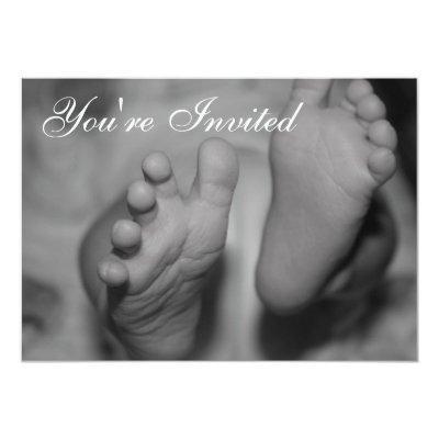 Newborn Feet Black and White Photo Invitation