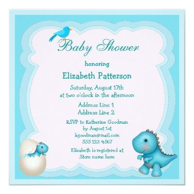 Newly Hatched Baby Boy Dinosaur Invitations