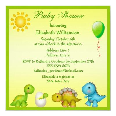 Newly Hatched Baby Dino & Dinosaurs Baby Shower Invitations