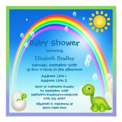 Newly Hatched Dinosaur Rainbow Invitations