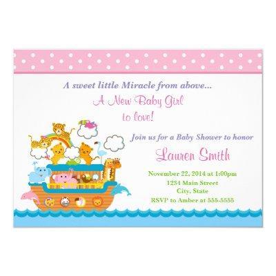 Noah's Ark Girl  Invitations