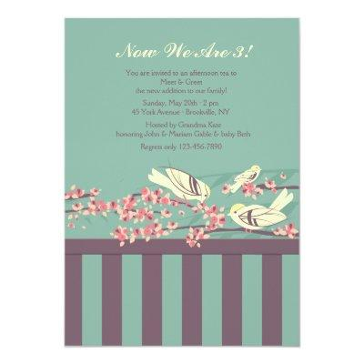 Bird family baby shower invitation baby shower invitations baby now we are three meet greet invitations m4hsunfo