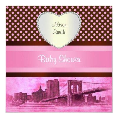 NYC Skyline Brooklyn Bridge Boat 3H Baby Shower Invitation