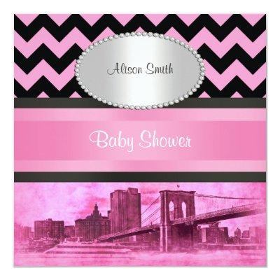 NYC Skyline Brooklyn Bridge Boat 8P Baby Shower Invitations