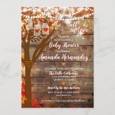 Oak Tree Fall Rustic Baby Shower Invitation