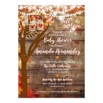 Oak Tree Fall Rustic Baby Shower Invitation