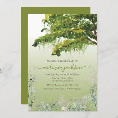 Oak Tree Spanish Moss Floral Southern Charm Invita Invitation