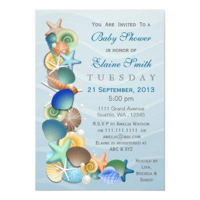 ocean theme Blue Baby shower Invites