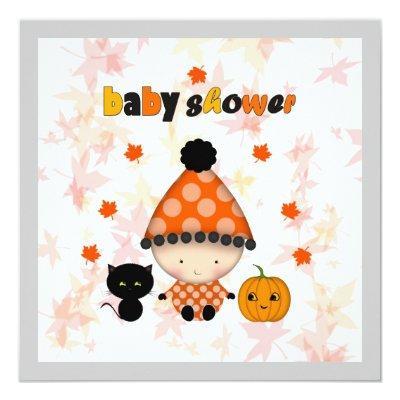 October Halloween Autumn Baby Shower Invitation