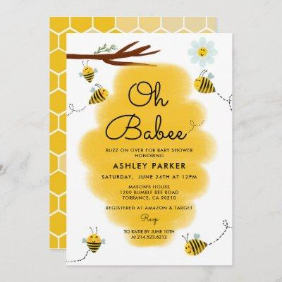 Oh Babee Bee Theme Baby Shower Invitation