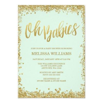 Oh Babies Mint Gold Glitter Baby Shower Invitation
