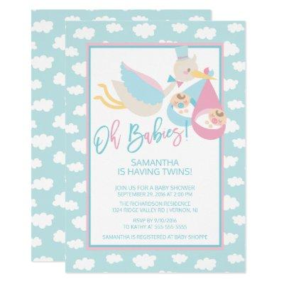 Oh Babies! Stork twin Baby Shower Invitation