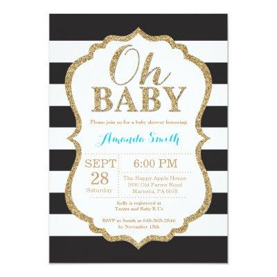 Oh Baby Black and Gold Baby Shower Invitations
